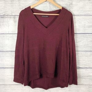 Harlowe and Graham maroon V neck sweater
